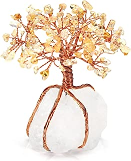 Top Plaza Chakra Healing Yellow Crystals Copper Tree of Life Wrapped On Natural Clear Quartz Crystal Base Feng Shui Luck Figurine Decoration