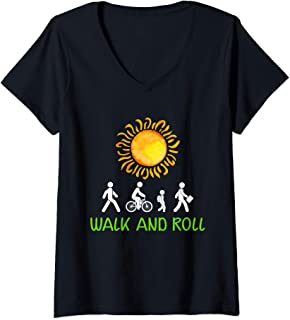 Womens Walk and Roll To School Day V-Neck T-Shirt