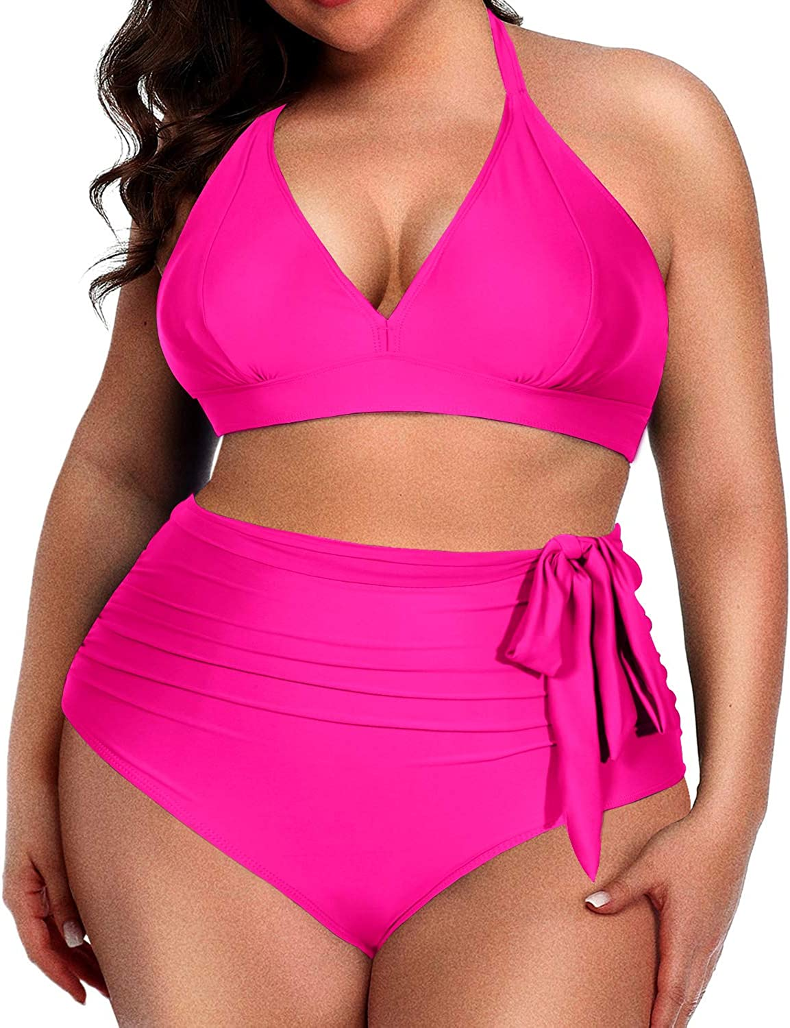 Daci Women Plus Size Bikini High Waisted Halter V Neck Ruched Tummy Control Two Piece Swimsuits