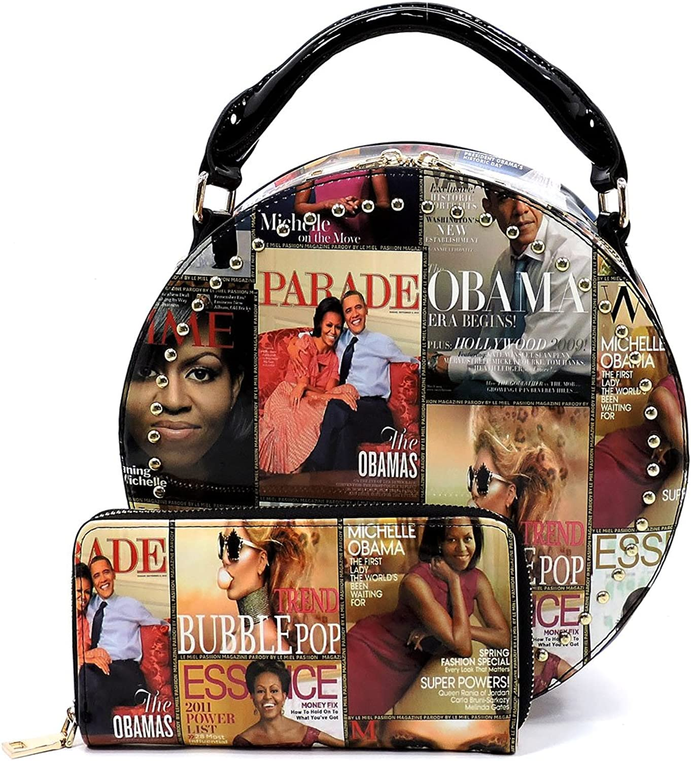 Glossy Magazine Cover Collage 2in1 Round Circle Satchel & Wallet Set Michelle Obama Handbag