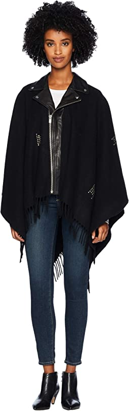 Leather Poncho with Studs