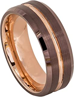Men's 8mm 2 Tone Beveled Edge Wedding Band, Brown & Rose Gold Ion Plated Grooved Brushed Center High Polished Comfort Fit Tungsten Carbide Anniversary Ring
