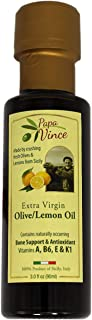 Papa Vince Infused Olive Oil - Lemon   NO ARTIFICIAL FLAVORS   NO ADDITIVE   NO PESTICIDES   UNREFINED   from our family in Sicily, Italy   Rich inVitamins A, B6, E & K1   3 fl oz