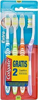 Colgate Extra Clean, Cepillo de Dientes Medio - Pack 4 ud