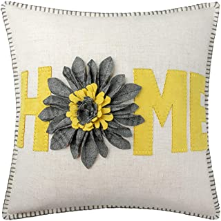 JWH 3D Sunflower Accent Pillow Case Wool Handmade Cushion Cover Decorative Stereo Pillowcase Home Bed Living Room Office Chair Couch Decor Gift 18 x 18 Inch Linen Yellow Gray Plaid