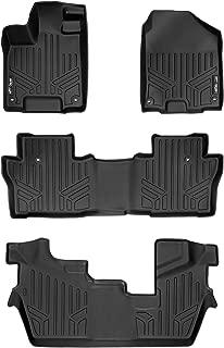 MAXLINER Custom Fit Floor Mats 3 Row Liner Set Black for 2016-2019 Honda Pilot 8 Passenger Model (No Elite Models)