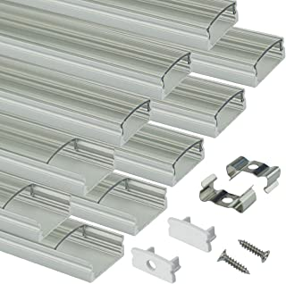Muzata LED Channel System with Crystal Transparent Diffuser Clear Cover Lens,Aluminum Extrusion Track Housing Profile for Strip Light with Video,10Pack 3.3ft/1M U Shape U1ST,Series LU1