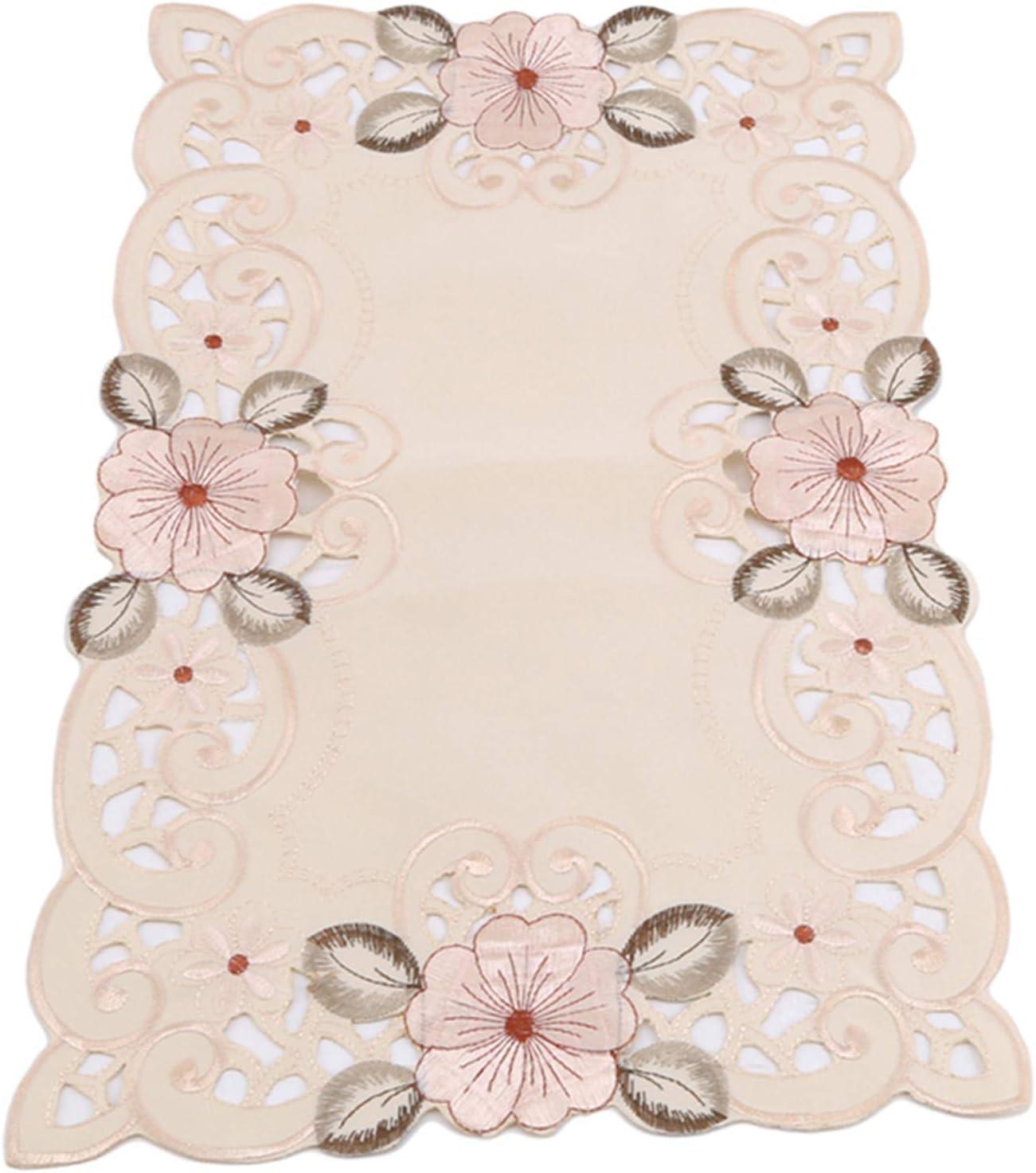 HNCE Chemin de Table brod/é Classique Domestique Nappe en Tissu Maison Chemin de Table rectangulaire napperon