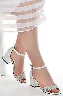 Ayakland 038-25 Taşlı 5 Cm Topuk Bayan Sandalet Ayakkabı Gümüş
