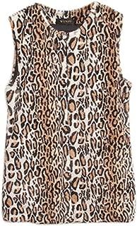 Women Leopard Print Vest Faux Fur Warm Waistcoat Outwear Jacket Coat