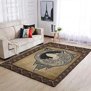 OwlOwlfan Grand tapis de chevet motif loup viking durable pour chambre à coucher, canapé, salon, cuisine, café, bureau, bl...