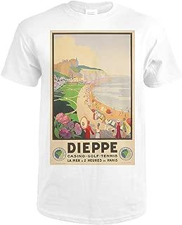 Dieppe Vintage Poster (artist: Hulot, Suzanne) France c. 1930 65159 (Premium White T-Shirt XX-Large)