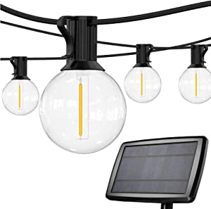 SUNTHIN Solar String Lights Outdoor-27ft Solar Patio String Lights with 13 Shatterproof G40 LED Bulbs, Waterproof Solar Powered Lights String for Patio, Backyard, Garden, Camping, Outdoor Party
