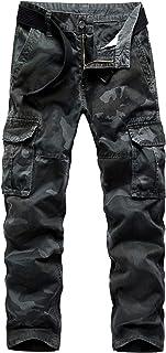 Pantalones tácticos de Camuflaje de Estilo Militar para Hombre Ripstop Durable Straight-Fit Washed Large Pocket Combat Wor...