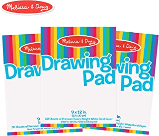 Melissa & Doug Drawing Paper Pad, 3-Pack of Large Drawing Pads, Pages Tear Cleanly, 50 Pages per Pack