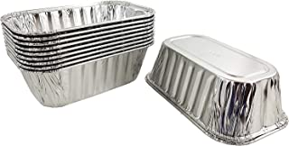 """Pactogo 1 lb. Disposable Aluminum Foil Small Mini Loaf Bread Baking Pan 6.1"""" x 3.75"""" x 2"""" - Made in USA (Pack of 10)"""