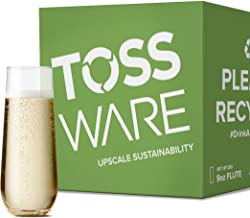 TOSSWARE 9oz Flute - Set of 252 recyclable champagne plastic cup - stemless, shatterproof and BPA-free, Clear (Renewed)