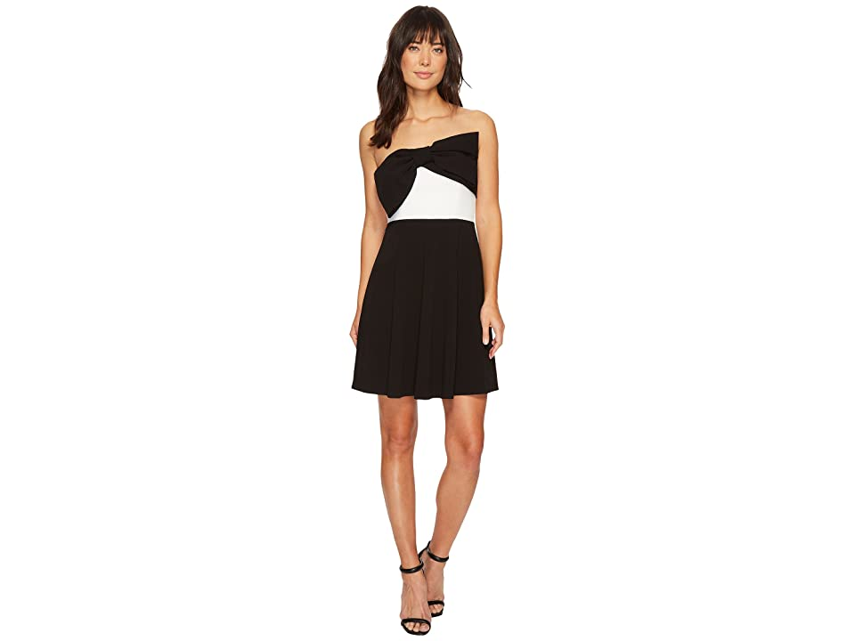 CeCe Strapless Color Blocked Scuba Dress w/ Bow (Rich Black) Women