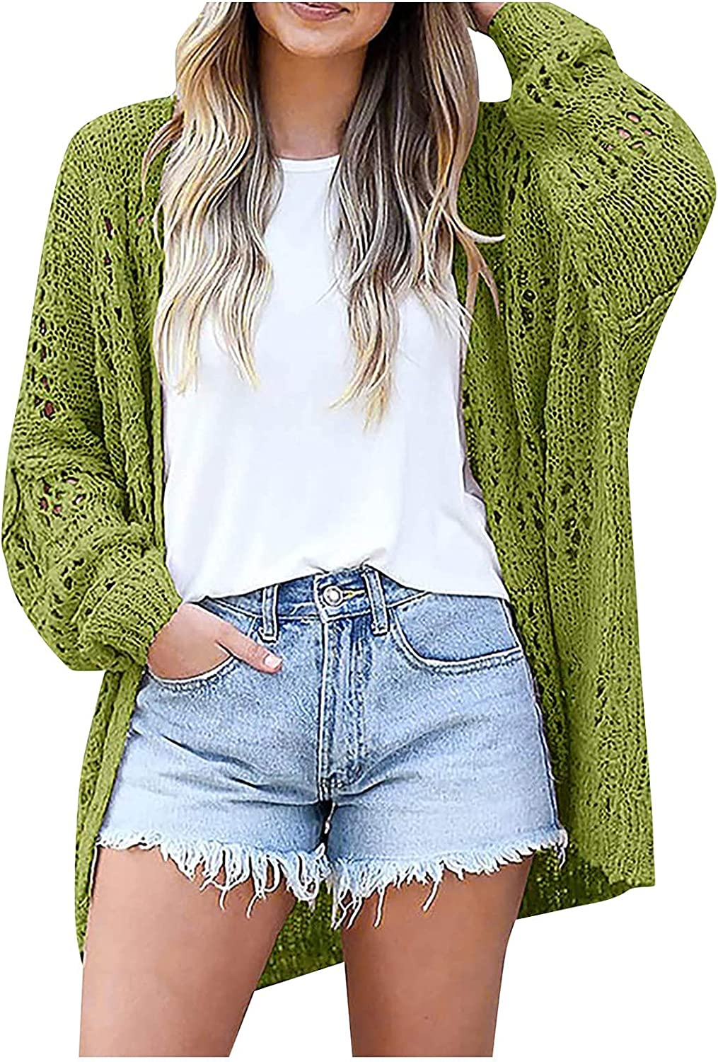 VonVonCo Cardigan Sweaters for Women Slim Fit Hollow Top Ladies V-Neck Pleated Long Sleeve Bottomed Sweater