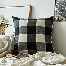 MIULEE Classic Retro Checkers Plaids Cotton Linen Soild Decorative Square Throw Pillow Covers Home Decor Design Cushion Ca...