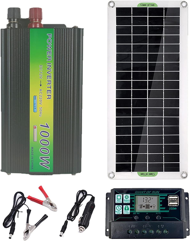 CHJAA Panel Solar Flexible de 5V / 12V / 18V 30W, Panel Solar Dual USB + inversor de 1000w, para el hogar del Remolque del Cable del Barco del Coche del RV de la batería de 5V 12V 24V