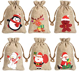 CCINEE 6 Syltes Christmas Linen Bags, with Drawstrings Christmas Burlap Gift Bags with Double Jute Drawstrings,12Pieces (S...