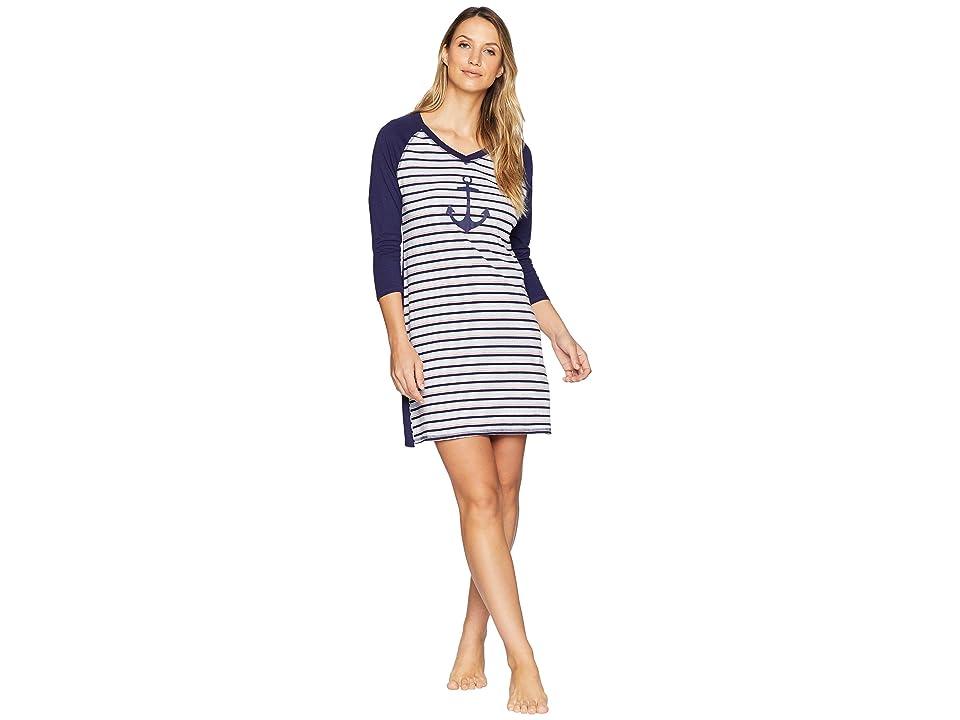 Nautica Anchor Stripe Sleepshirt (Pop Stripe Evening Blue Anchor) Women