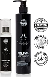 Deluxe Set Professional Curly Hair Products Combo Set by Royal Locks. Pro Curl Cream Gel and Curl Spray. Set of Two Argan Oil Infused Products for Defined Soft Frizz Free Moisturized Curls