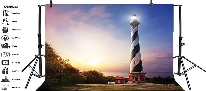 8x12 FT United States Vinyl Photography Backdrop,Hilton Head South Carolina Lighthouse Twilight Water Reflection Boats Idyllic Background for Party Home Decor Outdoorsy Theme Shoot Props