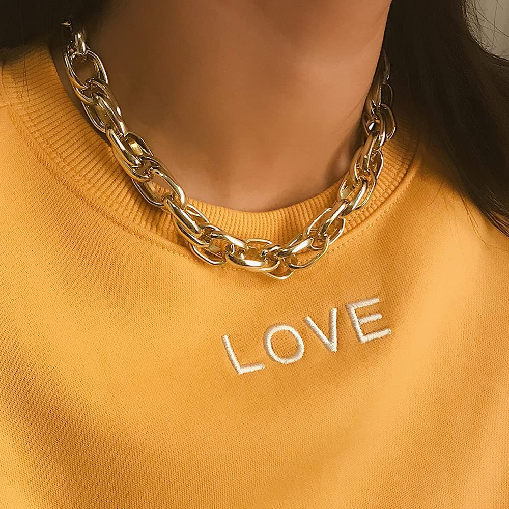 Wiwpar Punk Chunky Metal Collar Necklace Statement Hip Hop Cuban Thick Twisted Choker Necklace Gold for Women and Girls