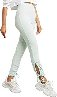 Ruched Ankle Detail Solid Pants For Women Closet by Styli