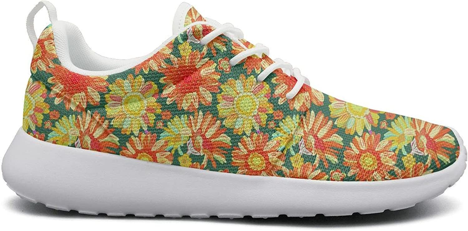 Eoyles gy Sunflowers and Oriole Pattern Watercolor Beautiful Women Slip Resistant Lightweight Running Sports shoes