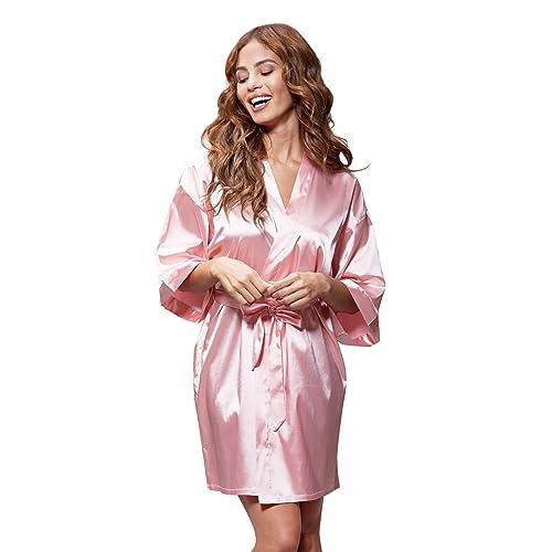 c8d4fd404d Turquaz Linen Women s Pure Color Satin Short Kimono Bridesmaids Lingerie  Robes