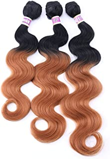 Body Wave Synthetic Hair Weave 3 Hair Bundles Deals 16 18 20 Inches Ombre Color T1B/30 Black and Brown Synthetic Hair Weft