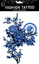 Grashine long last and look like real temporary tattoos Large design blue peony flowers with sparrow temp tattoo stickers women for chest,belly,back,leg,etc.