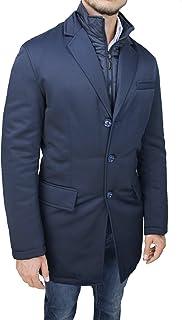 Mat Sartoriale Giaccone Uomo Elegante Invernale Blu Giacca Soprabito Lungo Foderato