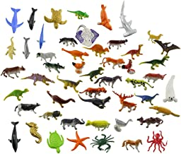 Acmer 60 PCS Different Mini Jungle Animals Toys Set, Realistic Wild Vinyl Pastic Animal Party Favors Toys, Forest Small Animals Toys