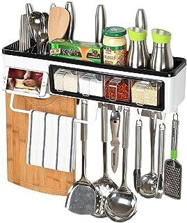 キッチン 収納 ラック 壁掛け 多機能 調味料入れ タオル掛け まな板 箸立て スマホスタンド キッチンツール 収納棚 (長さ50*幅12*高さ18cm)