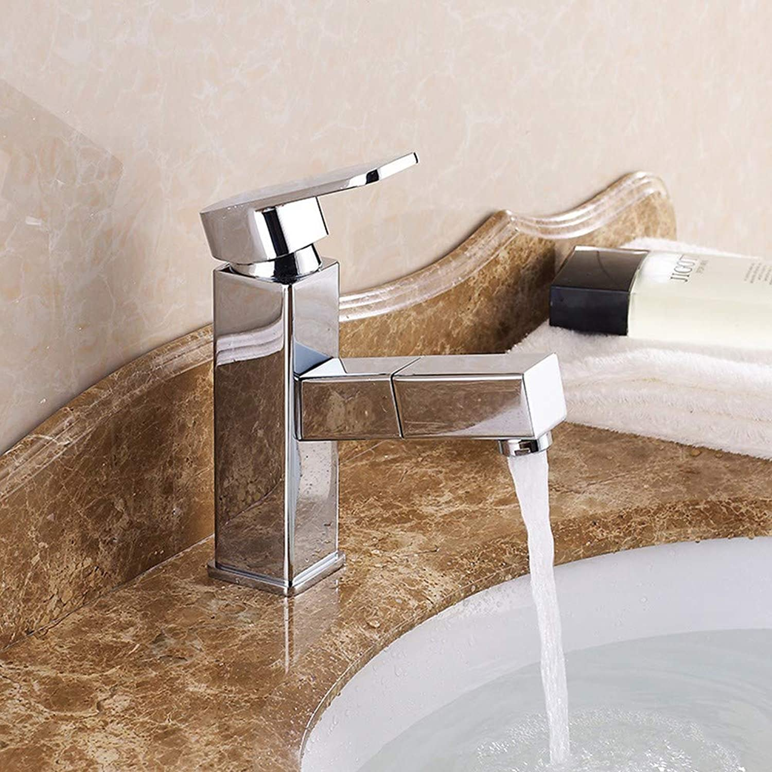Cucsaist Faucet basin pull-out faucet above counter basin washbasin bathroom cabinet shampoo hot and cold water faucet