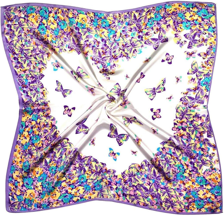 purplec White Heart Thick Silk Square Scarf