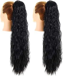 YMHPRIDE 2 Stuks 24 inch Lange Zwarte Trekkoord Krullend Paardenstaart Haarverlenging Paardenstaart Extensions Synthetisch...