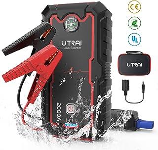 UTRAI Arrancador de Coche, 22000mAh 2000A Arrancador Batería Coche (para Todo Vehículo 8.0L de Gasolina o 7.5L de Diesel), Carga Rápida QC3.0 Type C (Rojo-ES)