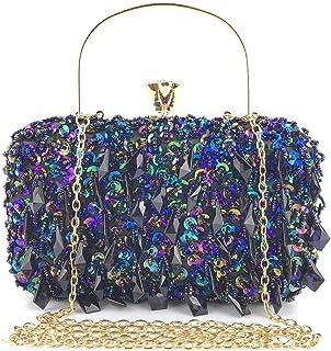 GLJJQMY Dinner Bag Beaded Sequins Diamond Ladies Handbag Wallet Cosmetic Bag Evening Bags (Color : Multicolor, Size : 20x11.5x7.5cm)