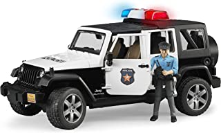 Bruder Jeep Wrangler Unlimited Police Vehicle with Policeman, Black/White