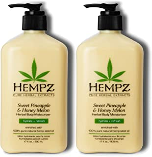 Hempz Sweet Pineapple & Honey Melon Moisturizing Skin Lotion, Natural Hemp Seed Herbal Body Moisturizer with Jojoba, Natur...