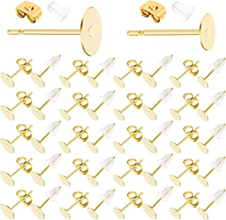 Earring Posts Stainless Steel, Flasoo 1200Pcs Hypoallergenic Earring Posts and Backs, Gold Flat Pad Earring Studs with Clu...