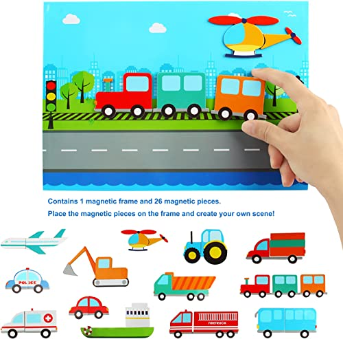 discount Larcle Kids Puzzle popular 26 Pieces Wooden Magnetic Vehicles lowest Puzzle Early Educational Transport Jigsaw Puzzle Toy for 36+ Months Boys or Girls YZPT-01(923c) online