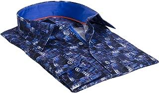 Pandino Navy Men's Designer Fashion Shirt with Geometric Print