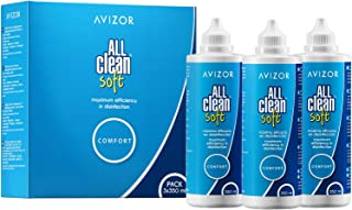 Líquido de lentillas AVIZOR All Clean Soft. Solución única para limpieza y desinfección de todo tipo de lentes de contacto blandas. 3 x 350 ml