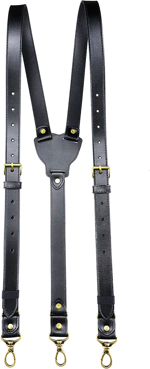 Rowmanlin Mens Suspenders with Snap Hooks on Belt Loops Genuine Cowhide Leather Adjustable Tuxedo Wedding for Gifts